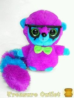 Ideal Toys Stuffed Plush Purple Blue Ring Tailed Lemur With Glasses