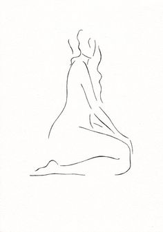 Art for bedroom. Subtle line art nude sketch. original pen and ink drawing by siret roots. #nude #woman #figure