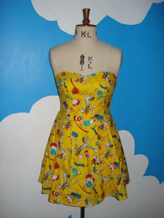 yellow doctor seuss cat in the hat sweet heart dress - all sizes
