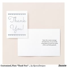 """Shop Customized, Plain """"Thank You!"""" + Heart Shapes Card created by AponxDesigns. Thank You Greeting Cards, Thank You Greetings, Appreciation Cards, Paper Envelopes, Colored Paper, Your Heart, Heart Shapes, Place Card Holders, Messages"""