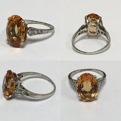 Love...love...love....Beautiful Imperial Topaz and diamond vintage ring. Approximately 8cts.
