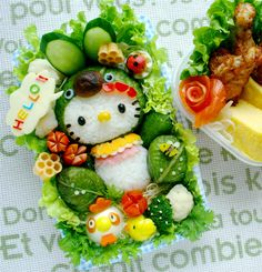 The cutest bento box I've ever seen ! It looks delicious...