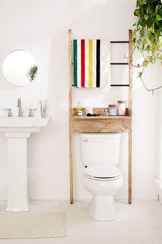 storage essentials for a small bathroom via jojotastic on http://jojotastic.com
