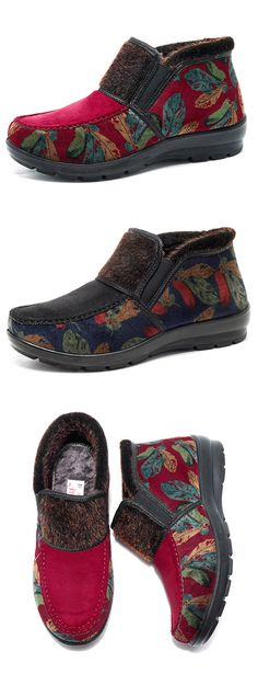 Faux Fur Lining Feather Printing Vintage Casual Ankle Boots. #fashion #winter #shoes #boots