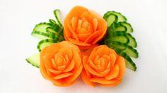 ItalyPaul - Art In Fruit & Vegetable Carving Lessons: Art In Carrot Rose Flower | Vegetable Carving Garn...