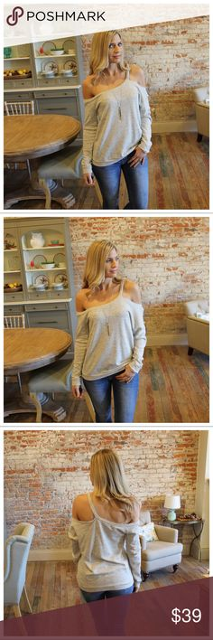 "Heather gray single strap off shoulder top Modeling size small. 60% cotton 26% polyester 15% rayon.  Bust laying flat pit to pit: S 18"" M 19"" L 20"" Length S: 28"" M 29"" L 30"".  Add to bundle to save when purchasing. IR10750119.NT17297 Infinity Raine Tops Tunics"