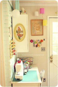 cute craft room - shabby chic, use mason jars and baskets?