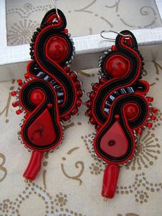 black & red soutache earrings with coral