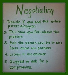 Print off this negotiation 'check-list' to remind myself daily in how to negotiate and not feel overwhelmed by it all.
