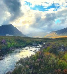 Dreamy Light Burst across Valley of Wildflowers between Mountains, Wild Winding River, Fine Art Photography, Dramatic Light, Nature Photo