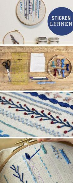 Kostenlos ~ Sticken lernen: Stickstiche lernen / embroidery how to: different stiches via DaWanda.com