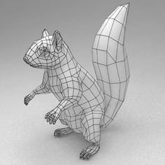 The topology of this squirrel will help for me re-topo. The tail will also help me for modeling my tail, despite being long instead of large and circular. I think the tapered fashion and width of the tail will be useful. 3d Model Character, Character Modeling, Game Character, Character Concept, Character Design, Zbrush, Wireframe, Polygon Modeling, 3d Modeling