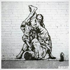 Great piece of street art! Jiu Jitsu Gym, Jiu Jitsu Belts, Jiu Jitsu Training, Ju Jitsu, Judo, Bjj Tattoo, Jiu Jitsu Quotes, Jiu Jitsu Videos, Jiu Jitsu Techniques