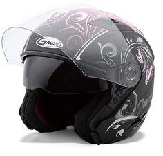 GMAX OF77 Open Face Helmet Choose Size Flat Black//Orange