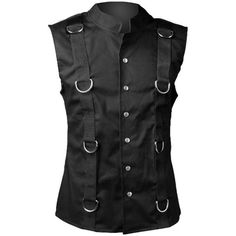 Goth sleeveless ring vest for men, by Aderlass clothing ($76) ❤ liked on Polyvore featuring mens and men's clothing