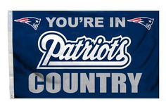 This New England Patriots country design flag will look great flying outdoors or hanging inside the family room, kid's room, or rec room of any fan of NFL team New England Patriots.