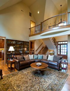 Stairway and loft on pinterest two story foyer for Two story house inside