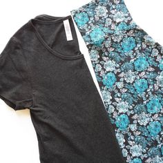 @lularoe Outfit of the day: Heathered Black Classic T paired with blue roses…