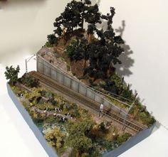 Diorama expositor trenes H0.