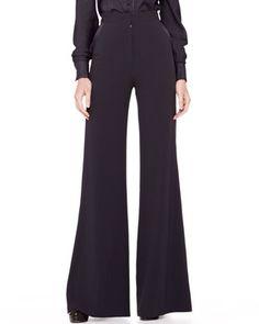 Zac Posen High-Waist Wide-Leg Trousers, Midnight on shopstyle.com.au