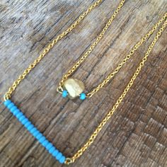 CLEARANCE, SALE, minimalist turquoise gold multi chain choker, delicate necklace, gift for her, turquoise beaded choker, feminine by Bedotted on Etsy