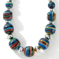 "Chaco Canyon Southwest Rainbow Calcilica Sterling Silver 18-1/4"" Necklace at HSN.com."
