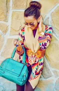 Aztec Cardigan With Stylish Shades