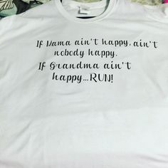How perfect is this shirt? And accurate too. . This shirt would be perfect for the mom or grandmother in your life. This can also be done on shirts of different colors. I can also change grandma to whatever you call your grandma (Nana, Gigi, Mimi, etc.). Just send me a message and I can create your personalized shirt.   To choose a color of vinyl other than black, just include it in your message to seller section when checking out.  *this is a short sleeve shirt....for long sleeve options…