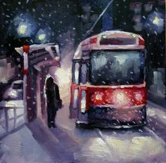 First Snowfall, Toronto Streetcar by Catherine Jeffrey Oil ~ 8 x 8 Watercolor Paintings, Watercolours, Oil Paintings, Toronto Street, Toronto Travel, Toronto Canada, Cityscapes, Flyers, Montreal