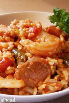 "Oven Baked Jambalaya | ""Impress your family and friends when you serve this classic and flavorful Creole dish and best of all, it's easily made in the oven."""