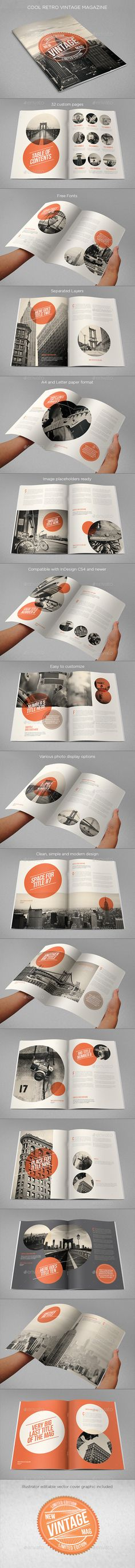Cool Retro Vintage Magazine Template #design Download: http://graphicriver.net/item/cool-retro-vintage-magazine/11819609?ref=ksioks