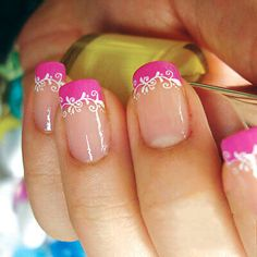 French Manicure with Pink and White Decorated Tips – sweet pink nails art.jpg French Manicure with Pink and White Decorated Tips – sweet pink nails art.jpg was last modified: February… Lace Nail Art, Lace Nails, Pink Nail Art, Pink Nails, White Nails, Magenta Nails, White Manicure, Gold Nails, Fingernail Designs