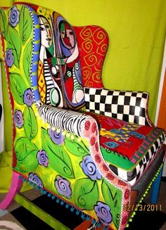 ☆ Picasso style....☆ painted upholstery #funkyfurniture