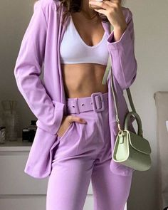 Another of this cute AF lilac suit set! The links to these two pieces are still on my stories for anyone who eyeing them off 💜💜💜… Pastel Fashion, Purple Fashion, Look Fashion, 90s Fashion, Fashion Outfits, Fashion Trends, Purple Outfits, Trendy Outfits, Cute Outfits