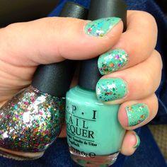 #DIY mermaid nails: OPI Mermaid's Tears + Nicole by OPI rainbow in the s-Kylie