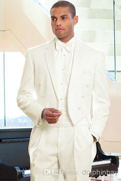 2015 Custom Long Ivory Three Buttons Groom Tuxedo Wedding Dress Groomsman Suit…