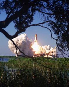 The Space Shuttle Discovery blasts off from Cape Canaveral on October 29, 1998.