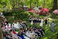 Beautiful outdoor spring garden wedding ceremony {meredith hanafi photography}