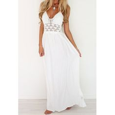 $13.63 Sexy Halter Hollow Out Spliced Maxi Dress For Women