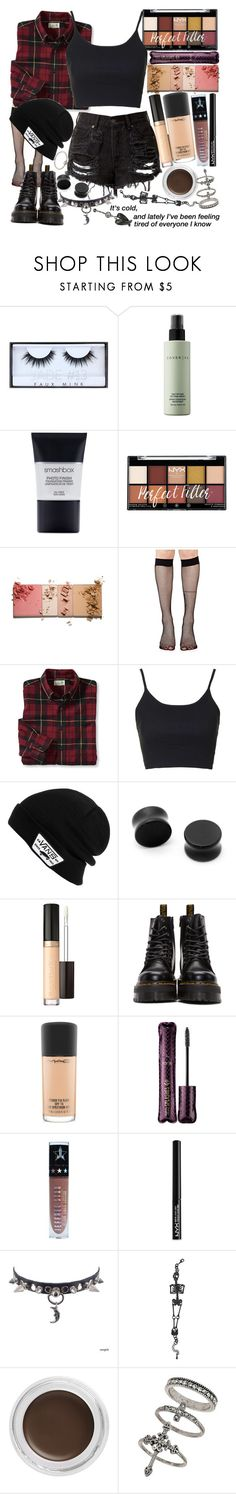 """I gotta say, it's hard to be brave, when you're alone in the dark. I told myself that I wouldn't be scared, but I'm still having nightmares"" by thelyricsmatter ❤ liked on Polyvore featuring Huda Beauty, Cover FX, Smashbox, Music Legs, Topshop, Vans, Hot Topic, Too Faced Cosmetics, Dr. Martens and MAC Cosmetics"