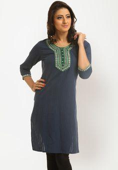 3/4th Embroidered Blue Kurti Online Shopping - MIRAAYA   MI201WA97DJYINDFAS