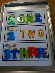 love this idea for number/ letter practice