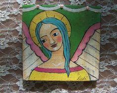 Folk Art Angel original Mixed Media Painting Bright by Debidoodah, $48.00