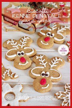 Biscotti Renne di Natale di pan di spezie, sono dei simpatici, divertenti e deliziosi #biscotti speziati, facili da preparare e saranno perfetti da regalare per #Natale, inseriti in graziose confezioni, avrete pronti dei doni di gran gusto e simpatia che, vi assicuro, piaceranno sia ai grandi che ai piccini.  #ricetta #dolci #feste #pandispezie #renne #recipe #reindercookies #food #foddie #gialloblog #foodblogger #holiday #xmax Xmax, Gingerbread Cookies, Desserts, Blog, Gingerbread Cupcakes, Tailgate Desserts, Deserts, Postres, Blogging
