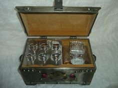 Vintage Decanter Chest with 6 Shot Glasses and  Decanter. $450.00, via Etsy.