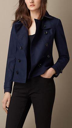 Azul marino clásico Chaqueta de estilo trench coat en popelina de algodón - Imagen 1