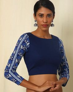 Buy Navy Blue Moksh Handblock Print Handwoven Cotton Blouse