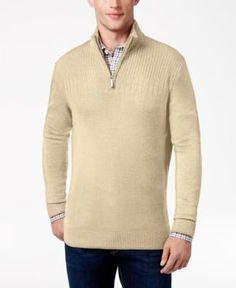 Geoffrey Beene Men's Big & Tall Quarter Zip Sweater - Tan/Beige 3XLT