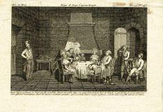"""""""Diner de Louis Capet au Temple"""" - gravure parue dans la Revue de Paris - """"Louis Capet, sa femme, sa soeur, son fils et sa fille dinent ensemble dans son appartement de la Tour du Temple, le guichetier présent ainsi que deux officiers municipaux, dont l'un annonce en tirant sa montre, qu'il est trois heures, et que sa femme, sa belle-soeur et sa fille doivent se retirer"""""""