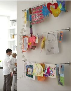 cool & neat ideas for displaying kids art work